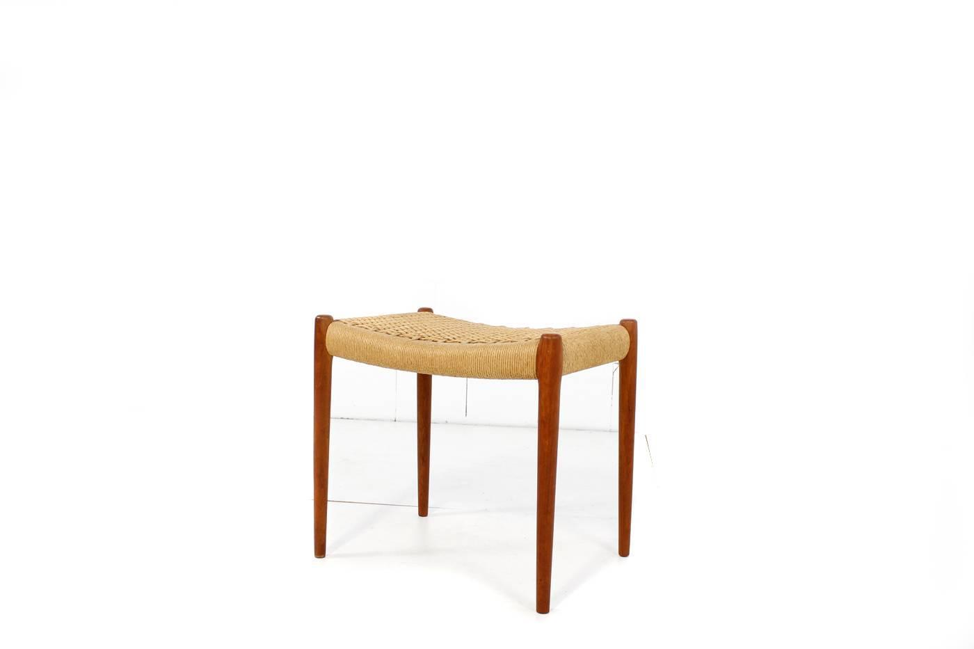 Beautiful niels moller teak stool mod 80a with papercord for 1001 stuhl design