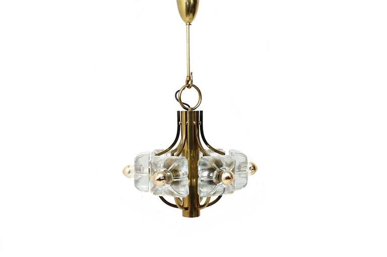 Mid-Century Modern Beautiful Glass & Brass Floral Chandelier 1960s Flower Lamp Mazzega Style For Sale