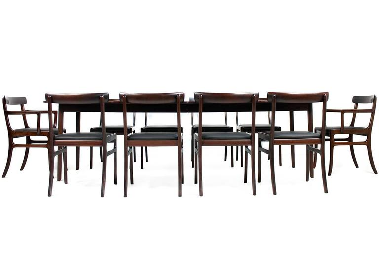 1960s ole wanscher dining room set rungstedlund table and ten cha