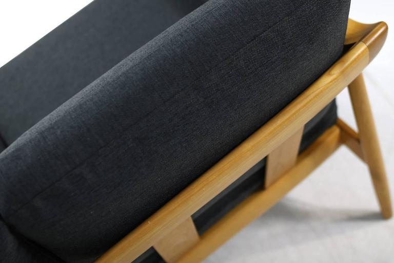 1950s Wilhelm Knoll Antimott Cherrywood Sofa Mid-Century Modern New Upholstery For Sale 2