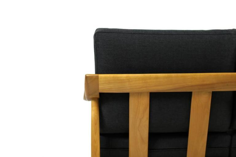 1950s Wilhelm Knoll Antimott Cherrywood Sofa Mid-Century Modern New Upholstery For Sale 1
