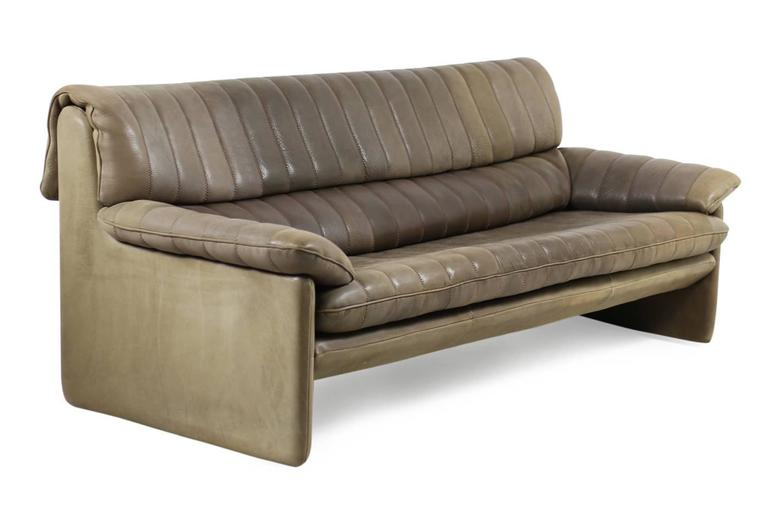 Late 20th Century 1970s De Sede DS 86 Vintage Thick Leather Sofa Set High Quality DS 85 For Sale
