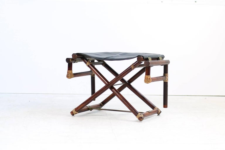1950s Mcguire Bamboo And Brass And Leather Folding