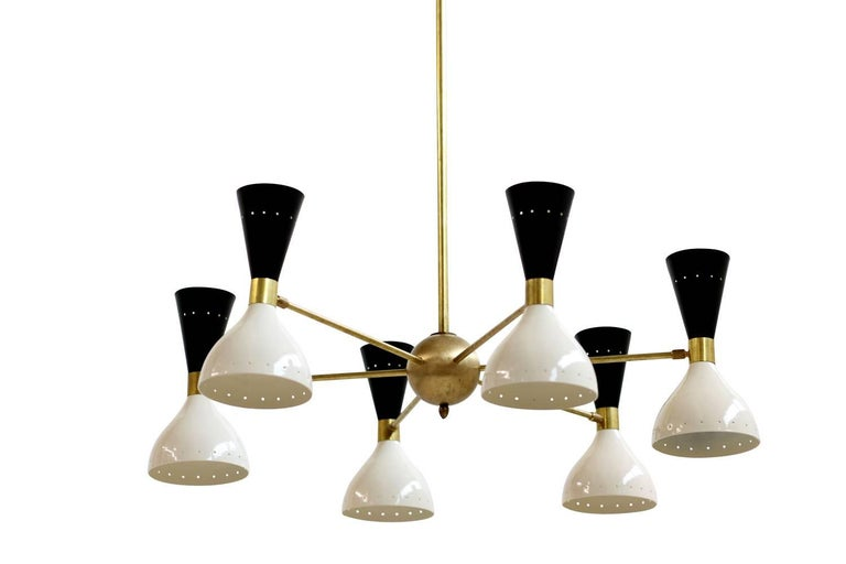 Large Adjustable Italian Modern Brass Six-Arm Chandelier Bi-Color Stilnovo Style 5