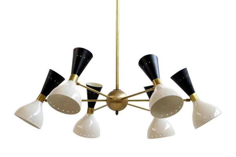 Large Adjustable Italian Modern Brass Six-Arm Chandelier Bi-Color Stilnovo Style For Sale 2