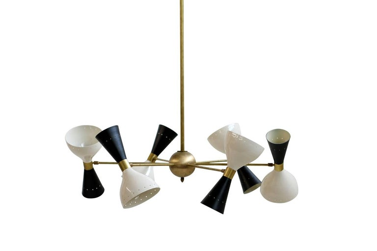 Large Adjustable Italian Modern Brass Six-Arm Chandelier Bi-Color Stilnovo Style 3