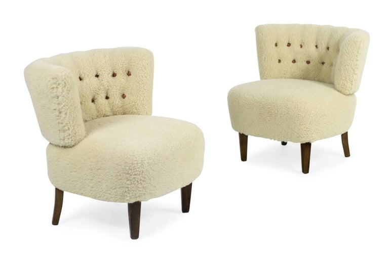 Pair of 1950s Otto Schultz Lounge Chairs Sheepskin & Leather, Mid-Century Modern 5