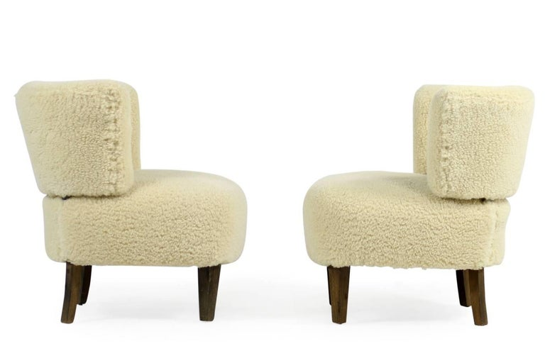 Swedish Pair of 1950s Otto Schultz Lounge Chairs Sheepskin & Leather, Mid-Century Modern For Sale