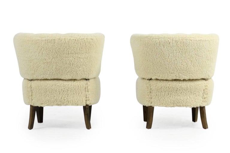 Pair of 1950s Otto Schultz Lounge Chairs Sheepskin & Leather, Mid-Century Modern 4