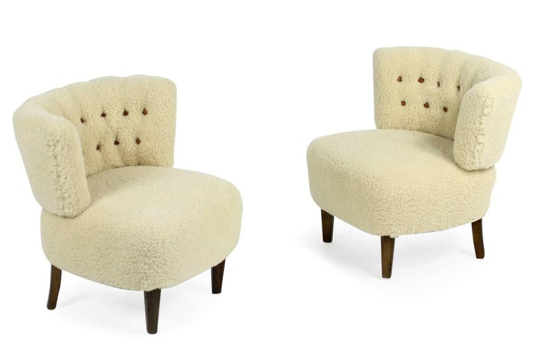 Pair of 1950s Otto Schultz Lounge Chairs Sheepskin & Leather, Mid-Century Modern For Sale 2