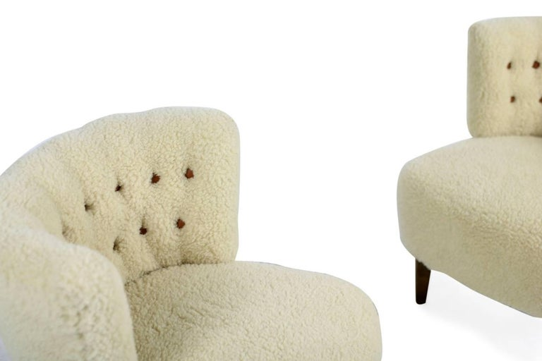 Pair of 1950s Otto Schultz Lounge Chairs Sheepskin & Leather, Mid-Century Modern For Sale 3