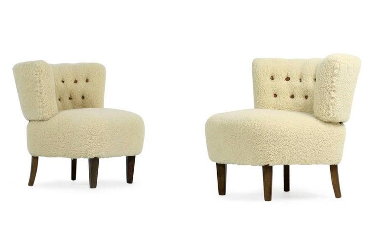 Pair of 1950s Otto Schultz Lounge Chairs Sheepskin & Leather, Mid-Century Modern 2