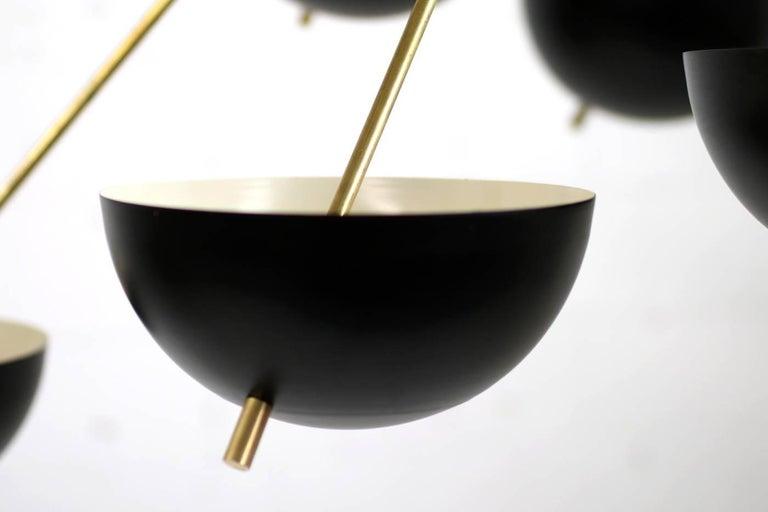 Italian Modern Flush Mount Starburst Brass Bowl Chandelier Stilnovo Style 4