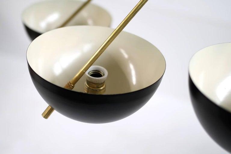 Italian Modern Flush Mount Starburst Brass Bowl Chandelier Stilnovo Style 6