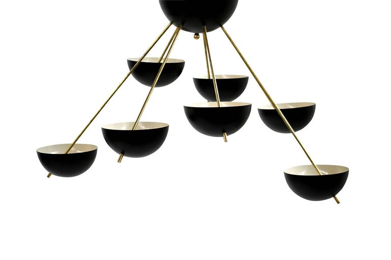 Italian Modern Flush Mount Starburst Brass Bowl Chandelier Stilnovo Style 7