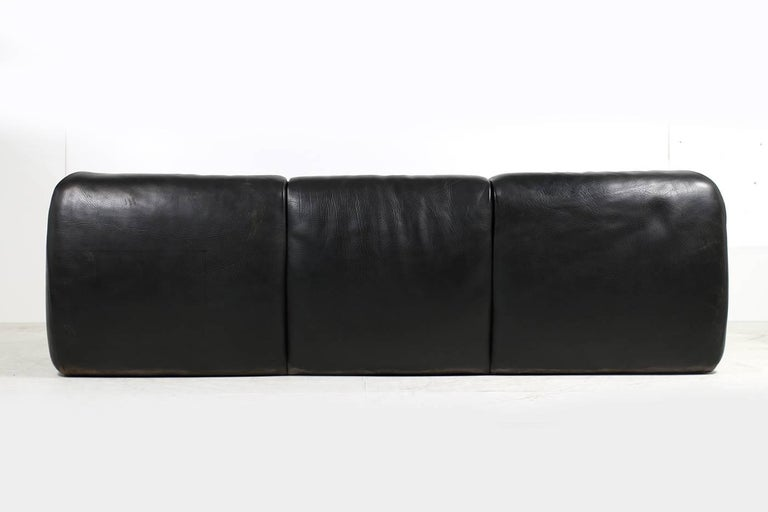 German Rare 1970s Organic Buffalo Leather Lounge Sofa Three-Seat in High Quality For Sale