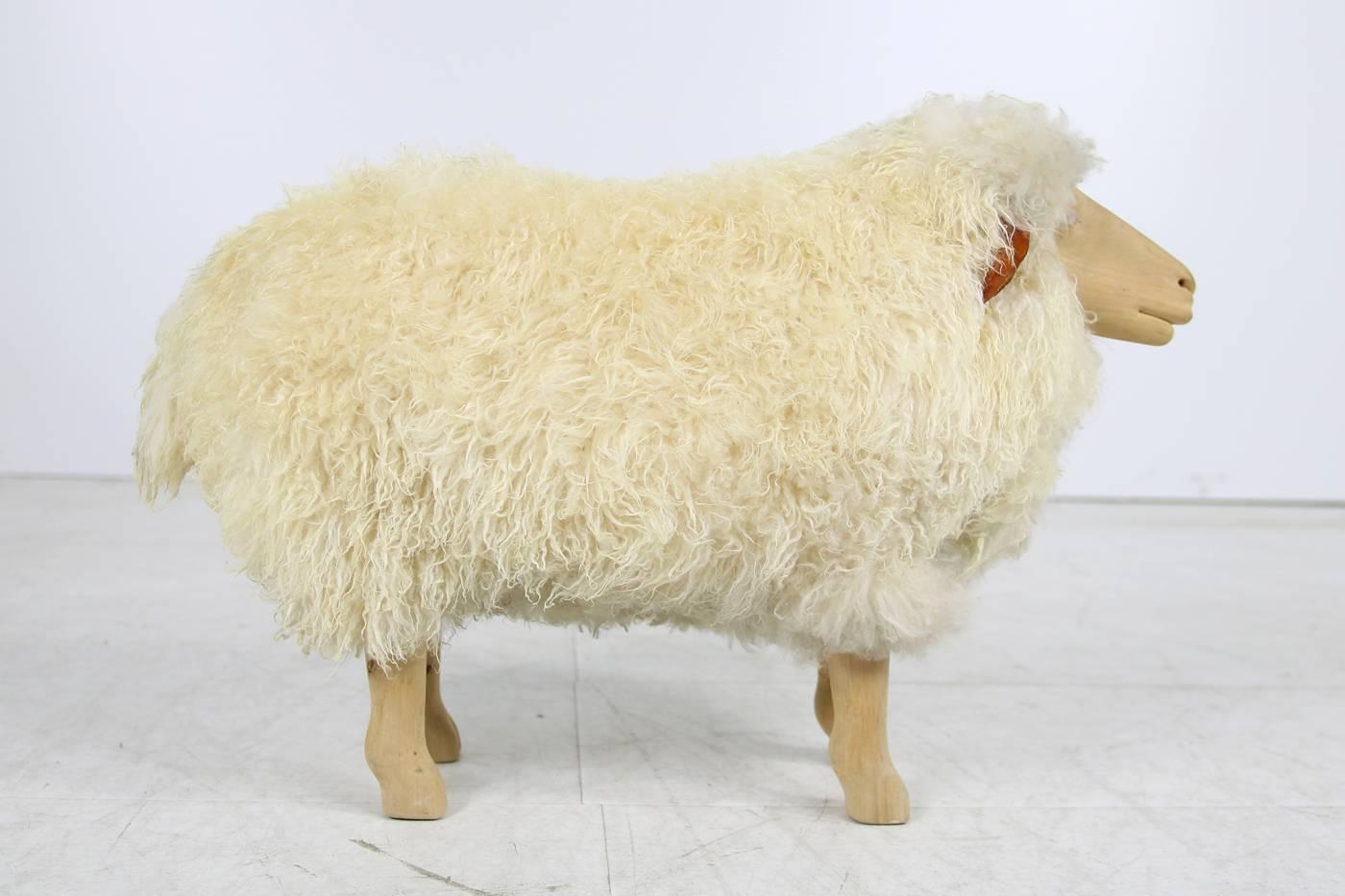 Vintage 1960s Sheep Oak And Leather In Francois Xavier Lalanne Style,  Sheepskin For Sale At 1stdibs