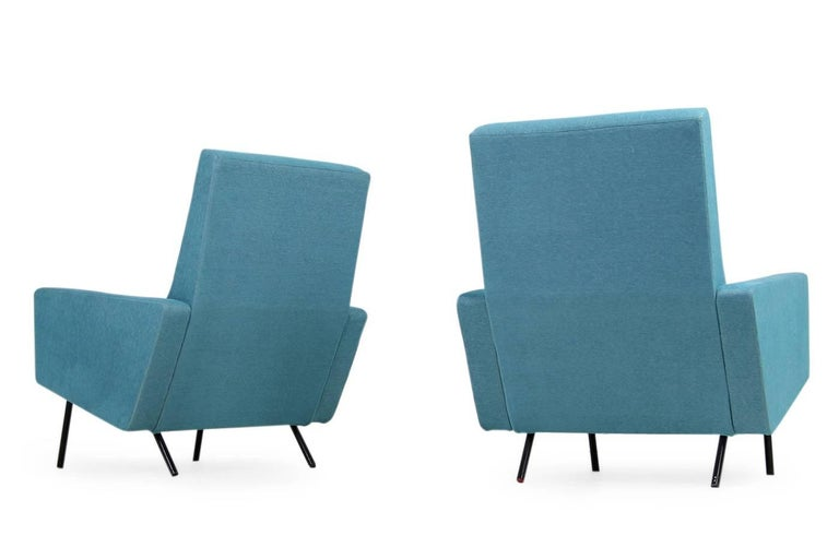 Metal Pair of 1950s Lounge Chairs Joseph Andre Motte Attributed Mid-Century Modern For Sale