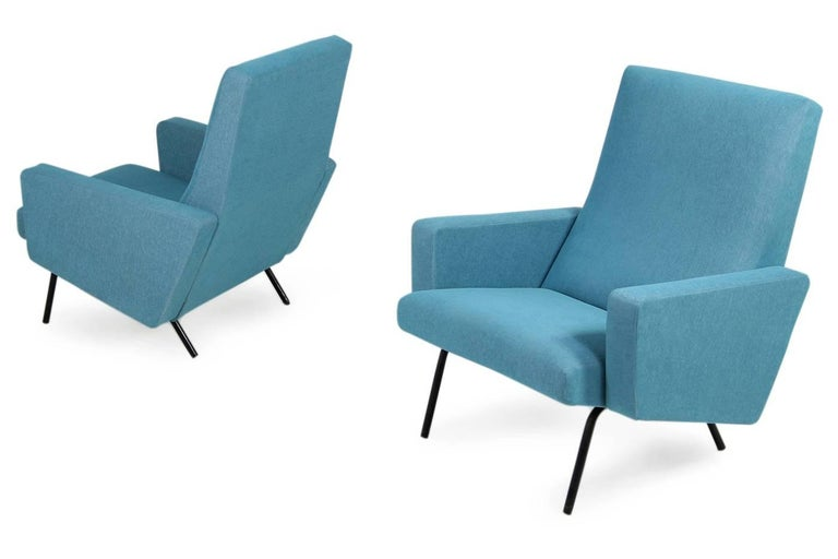 Pair of 1950s Lounge Chairs Joseph Andre Motte Attributed Mid-Century Modern For Sale 2