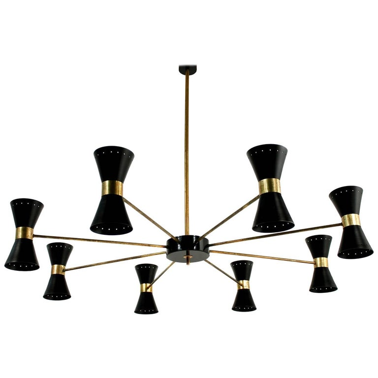 Large Eight-Arm Italian Modernist Brass Diabolo Chandelier Stilnovo Spider Style For Sale