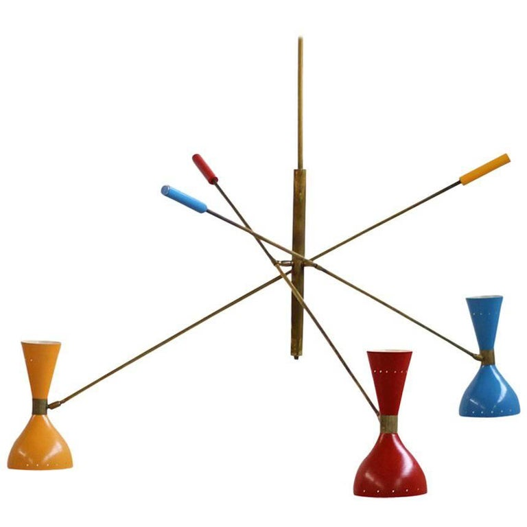 Italian Modern Adjustable Three-Arm 'Triennale' Brass Lamp in Stilnovo Style