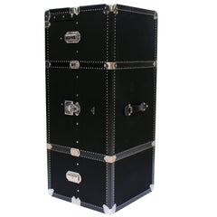Prada Black Canvas Wardrobe Trunk with Palladium Hardware Made in 2005