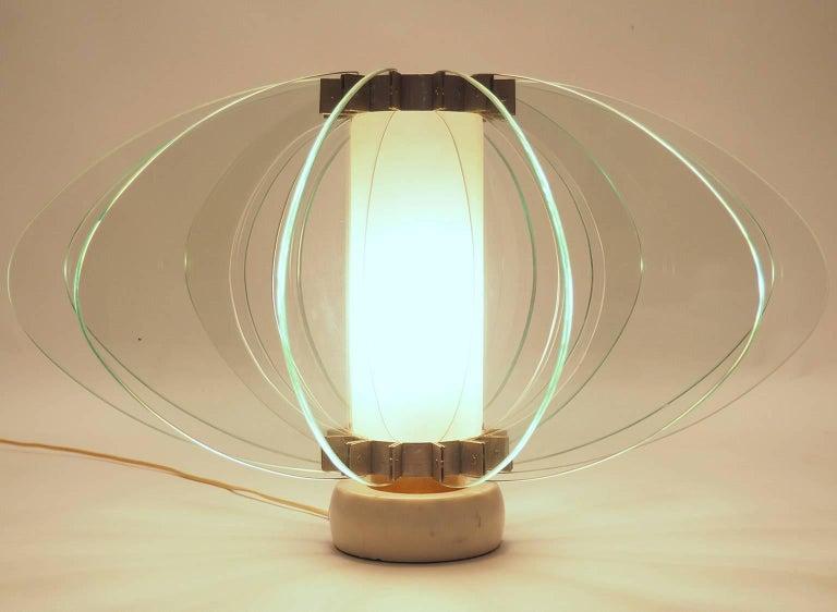 Italian Monumental Glass Table Lamp Attributed to Fontana Arte ...