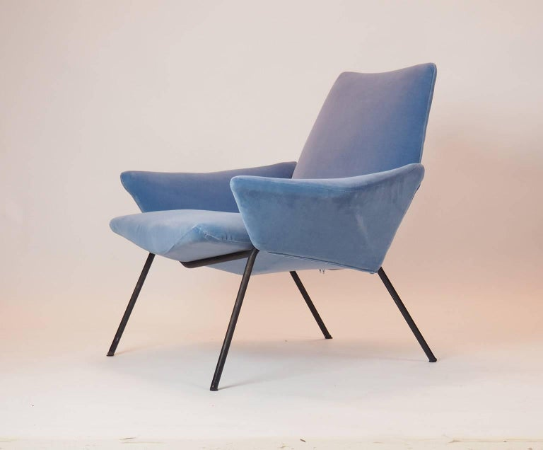 Single Diamond Armchair in Blue Velvet by Rossi di Albizzate, Italy, 1950s For Sale 3