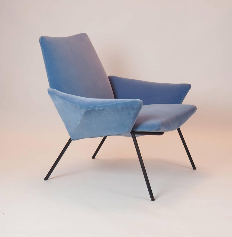 Single Diamond Armchair in Blue Velvet by Rossi di Albizzate, Italy, 1950s For Sale 2