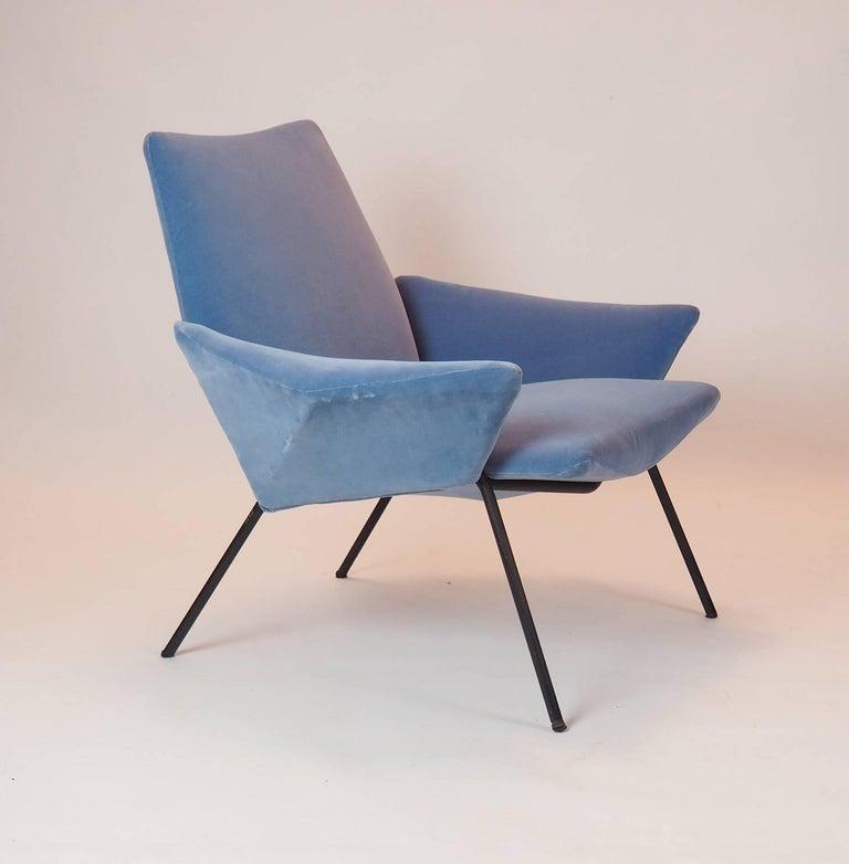 Single Diamond Armchair in Blue Velvet by Rossi di Albizzate, Italy, 1950s 8