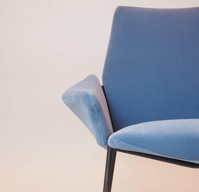 Mid-20th Century Single Diamond Armchair in Blue Velvet by Rossi di Albizzate, Italy, 1950s For Sale