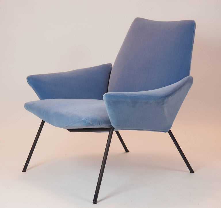 Mid-Century Modern Single Diamond Armchair in Blue Velvet by Rossi di Albizzate, Italy, 1950s For Sale