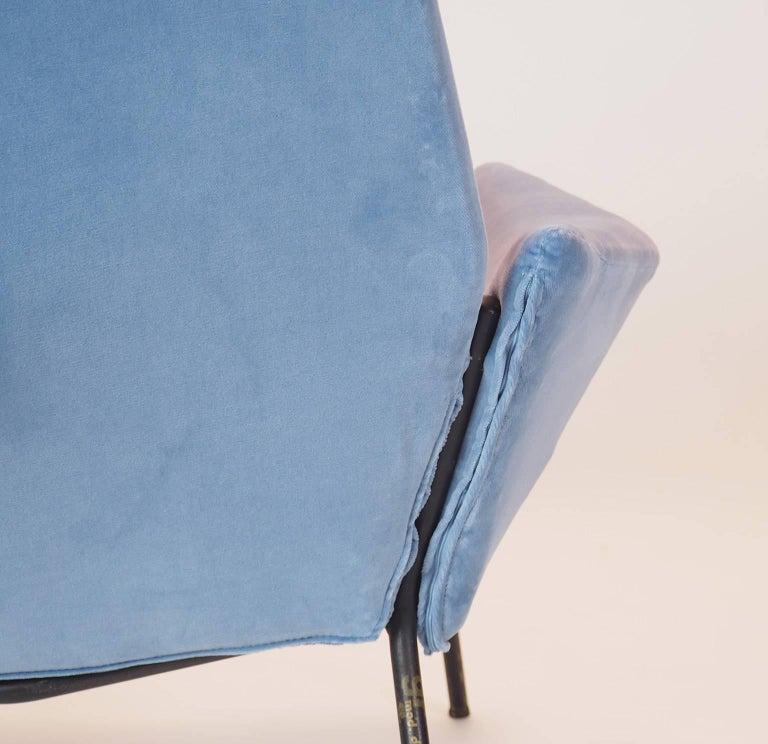 Single Diamond Armchair in Blue Velvet by Rossi di Albizzate, Italy, 1950s 7