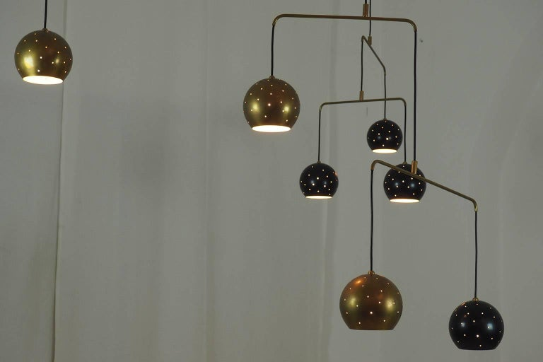 Mid-Century Modern Mobile Brass and Black Spheres Chandelier