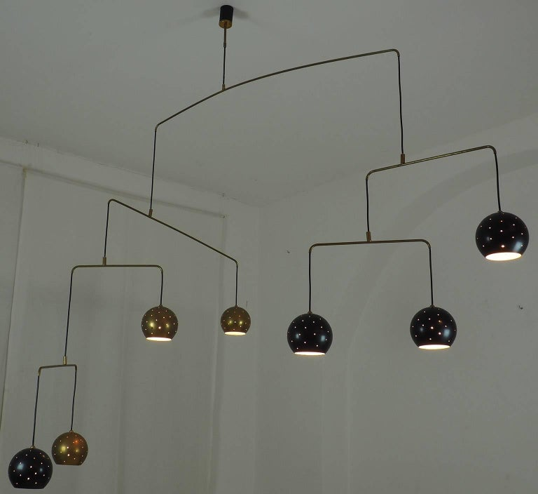 Mid-Century Modern Mobile Brass and Black Spheres Chandelier,