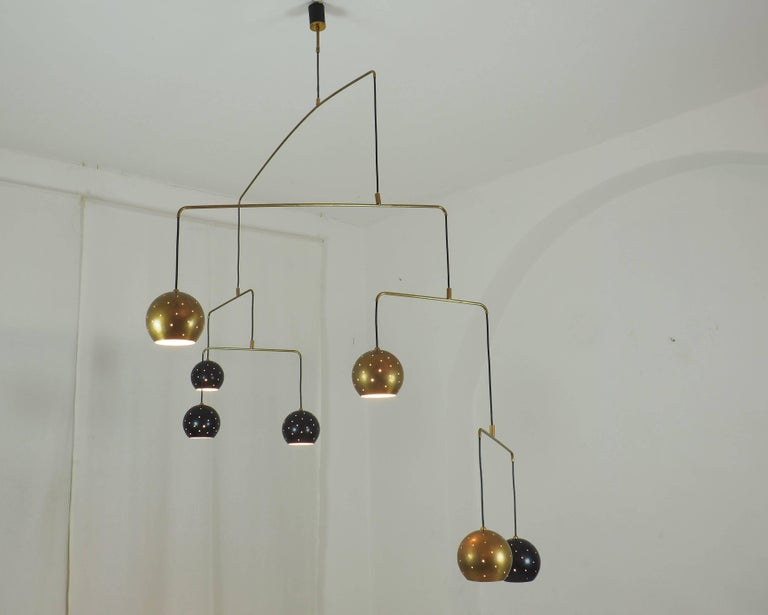 20th Century Mobile Brass and Black Spheres Chandelier,