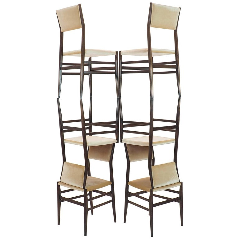 Splendid Sextet of Leggera chairs designed by Gio Ponti in 1952, in very good condition with new upholstery in Champagne- colored Italian velvet. These wood chairs represents the 1st project edited by Cassina in Meda, Milano This model with