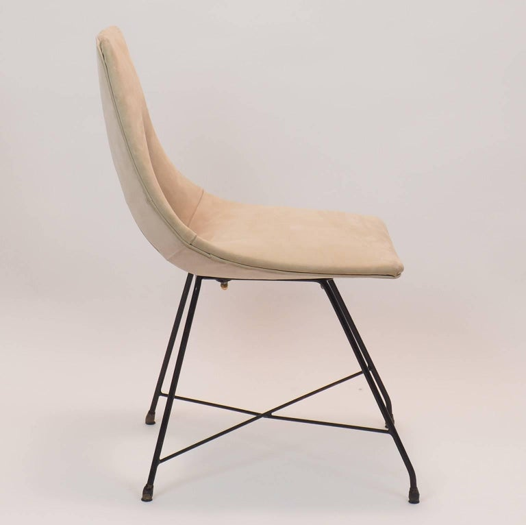 Mid-Century Modern Midcentury Suede Chair  Designed by Augusto Bozzi for Saporiti, Italy, 1950s For Sale