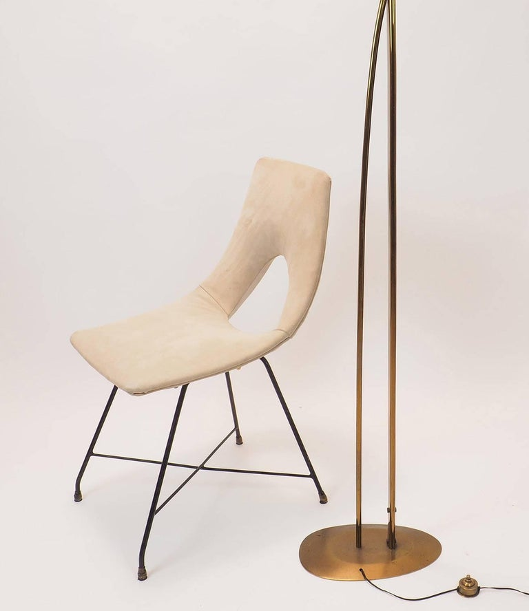 Mid-20th Century Midcentury Suede Chair  Designed by Augusto Bozzi for Saporiti, Italy, 1950s For Sale
