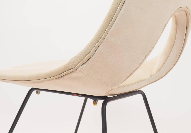 Midcentury Suede Chair  Designed by Augusto Bozzi for Saporiti, Italy, 1950s For Sale 2