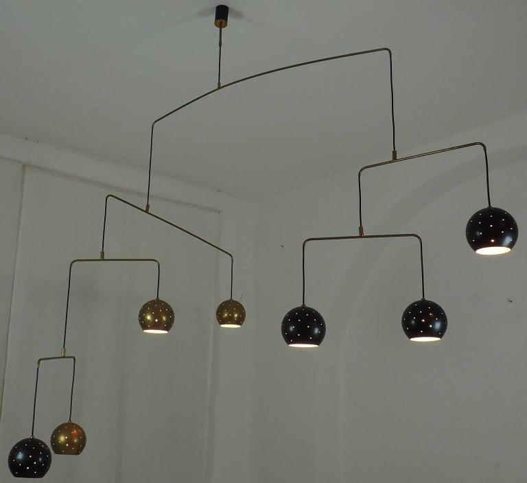 Italian Mobile Brass and Black Spheres Chandelier