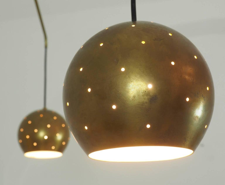 Turned Mobile Brass and Black Spheres Chandelier