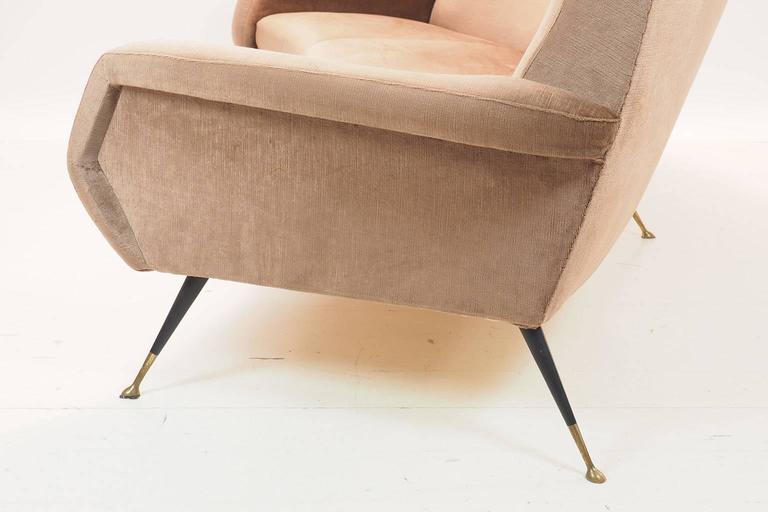 Brass Italian Curved Sofa by Gigi Radice for Minotti, Milano, 1950s For Sale