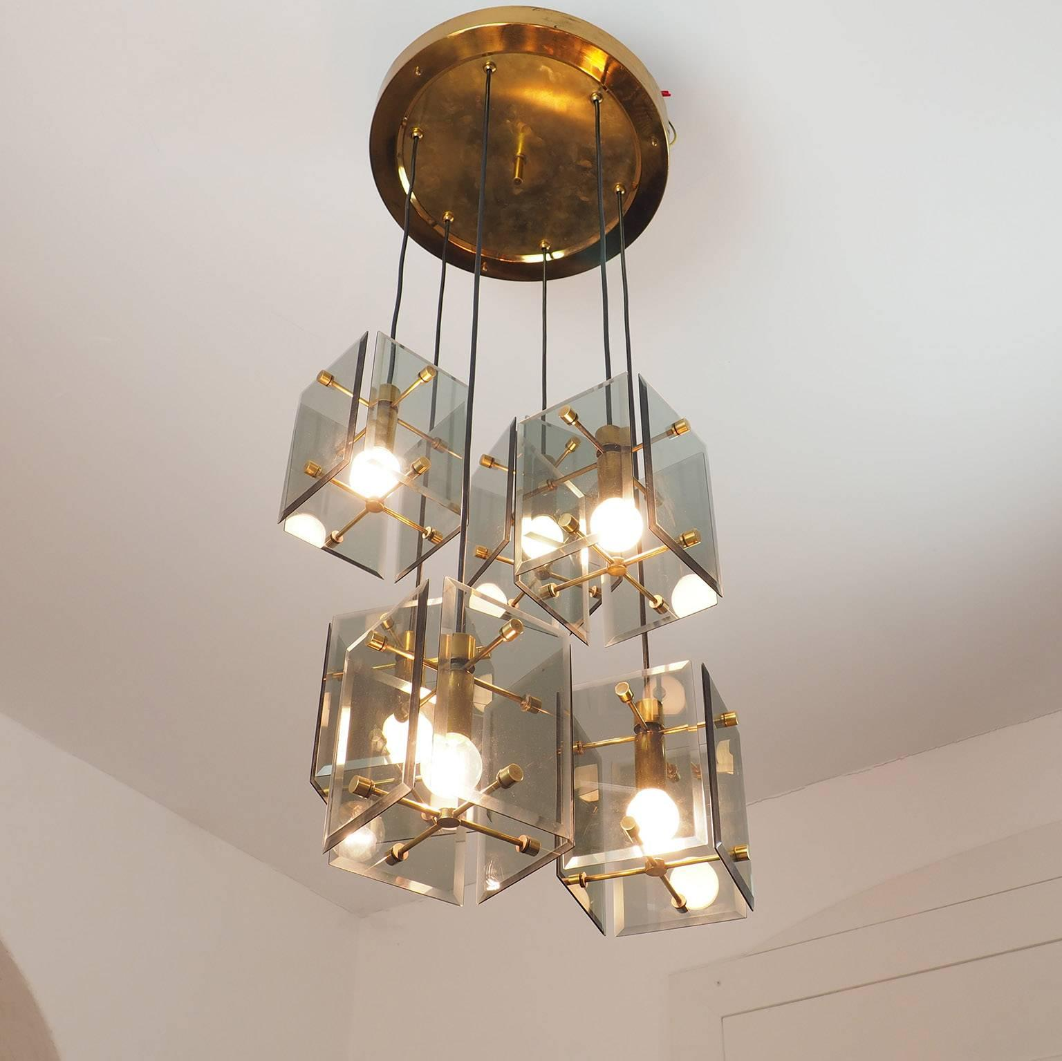 Bright and Brilliant Italian Chandelier in the Style of Fontana Arte ...