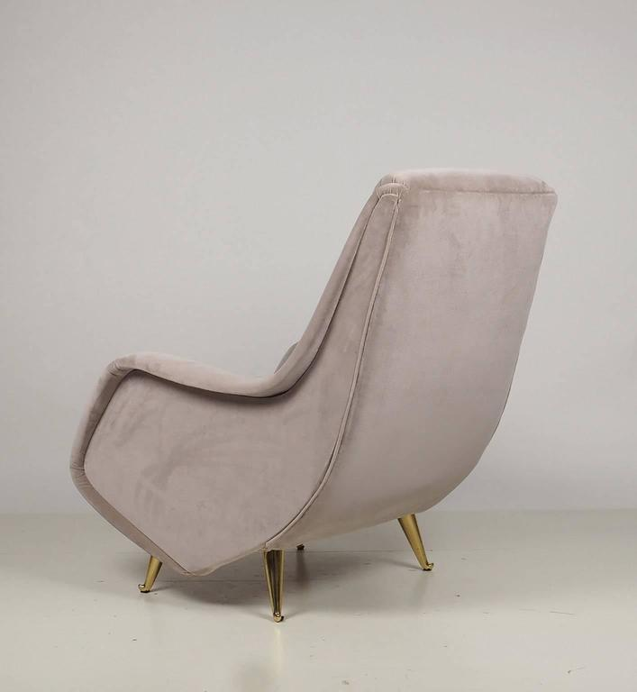 Mid-Century Modern Fine Italian Lounge Chairs Manufactured by ISA,  Milano, Italy 1950's For Sale