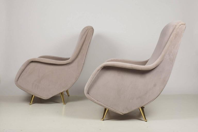 Fine Italian Lounge Chairs Manufactured By ISA, Milano, Italy 1950's At 1stdibs
