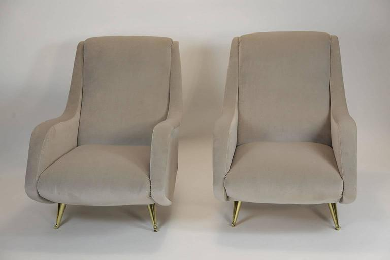 Velvet Fine Italian Lounge Chairs Manufactured by ISA,  Milano, Italy 1950's For Sale