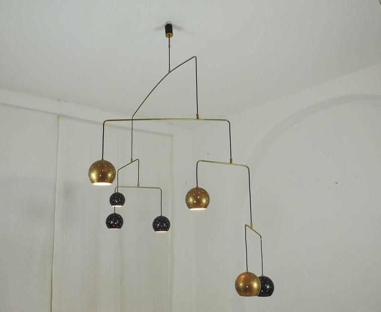 "Italian Large Poetic Mobile Chandelier  ""Magico E Meditativo"" Milano, XX c. 6"
