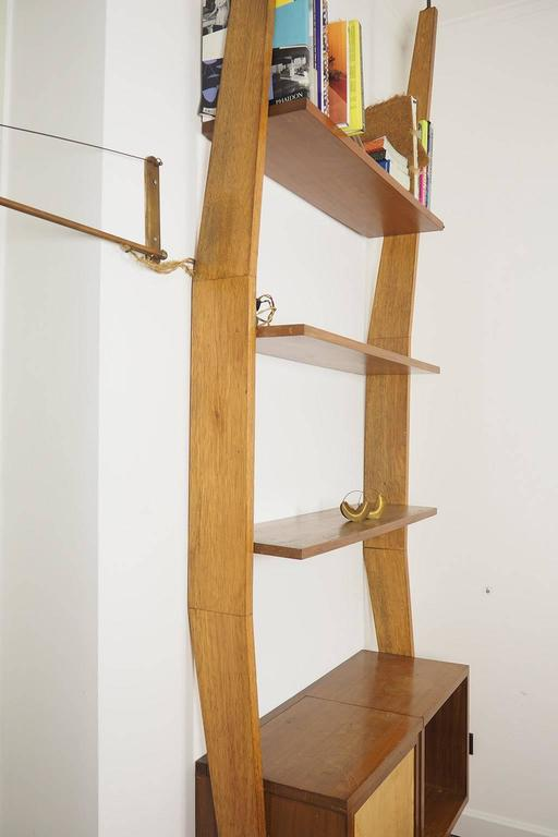 Mid-Century Modern Midcentury Wood and Brass Bookcase designed  by Augusto Romano, Italy 1950s For Sale