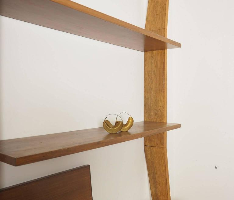 Midcentury Wood and Brass Bookcase designed  by Augusto Romano, Italy 1950s For Sale 4